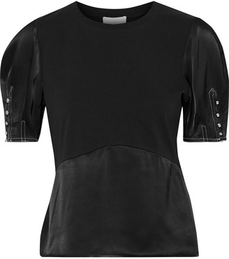 3.1 Phillip Lim Paneled Cotton-jersey And Satin-crepe Top