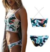 CROSS1946 Front Zipper Bikini Back Criss Cross Tankini Cover Up Floral Printing Beachwear