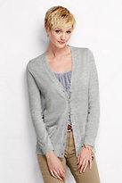 Classic Women's Merino V-neck Cardigan Sweater-Black Stripe