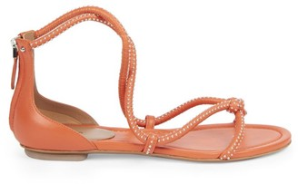 Alaia Studded Flat Leather Sandals