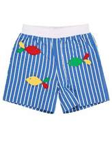 Florence Eiseman Striped Fish-Embroidered Swim Trunks, Size 2-4