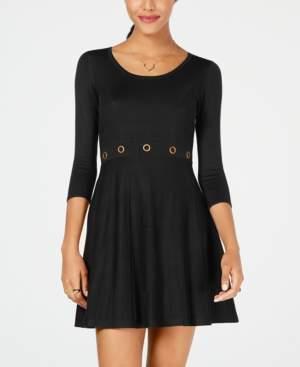 BCX Juniors' Grommet-Waist Fit & Flare Sweater Dress