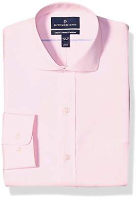 Buttoned Down Classic Fit Cutaway Collar Solid Non-Iron Dress Shirt, Light Pink/Pockets, 15 Inches Neck 31 Inches Sleeve