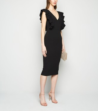 New Look Ruffle Trim V Neck Midi Dress