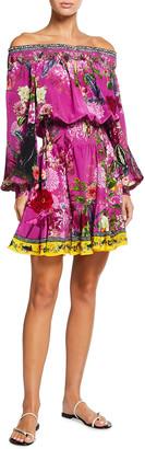 Camilla Off-the-Shoulder Smocked Print Dress
