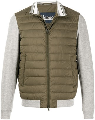 Herno Contrasting Sleeve Quilted Jacket