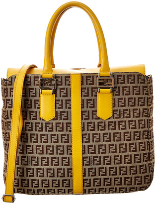 Fendi Yellow Leather & Zucchino Canvas Satchel