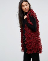 QED London Shaggy Faux Fur Vest
