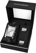 Sekonda 3801g Rectangular Leather Strap Watch And Cufflinks Gift Set, Black/silver