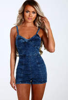 Pink Boutique Damage Control Navy Acid Wash Denim Playsuit