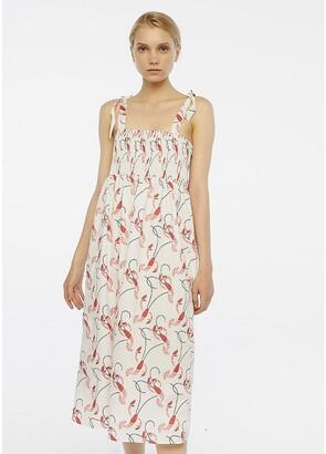 Compania Fantastica Printed Cotton Midi Dress with Tie Straps