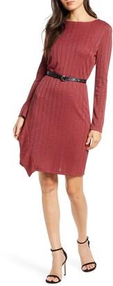 Sam Edelman Belted Long Sleeve Sheath Dress