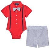 Andy & Evan Red Polo Shirtzie, Bow Tie and Shorts Set