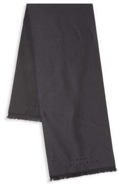 Versace Wool Diagonal Stripe Scarf