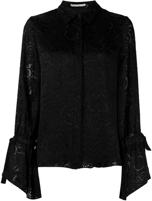 Alice + Olivia Floral-Embroidered Long-Sleeved Blouse