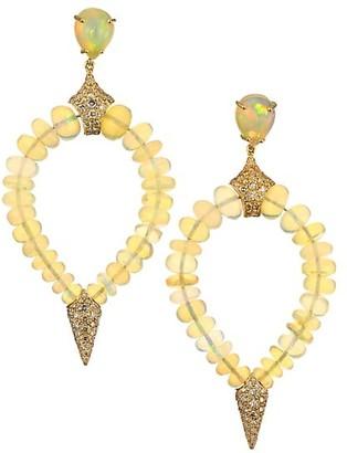 Etho Maria Misty 18K Yellow Gold, Opal & Brown Diamond Beaded Teardrop Earrings