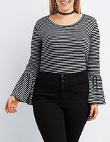 Charlotte Russe Plus Size Striped Bell Sleeve Crop Top