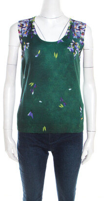 Escada Green Digital Floral Print Silk Wool Sleeveless Top M