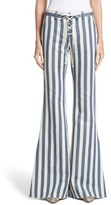 Roberto Cavalli Women's Cotton Lace-Up Stripe Pants