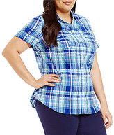 Allison Daley Plus Gingham Button-Front Shirt