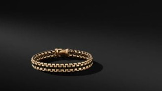David Yurman Woven Box Chain Bracelet In Black And 18K Gold