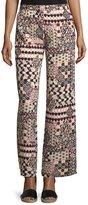 Romeo & Juliet Couture Geometric-Print Wide-Leg Pants, Pink/Multi
