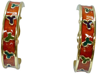 One Kings Lane Vintage Givenchy Oversize Hoop Earrings - Wisteria Antiques Etc - gold/orange/green/black