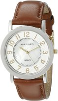 Anne Klein Women's AK/1631MPTI Stainless Steel Watch with Brown Leather Band