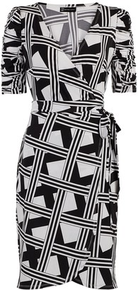New York & Co. Graphic-Print Knit Wrap Dress