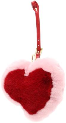 Prada Fur Heart Key Ring