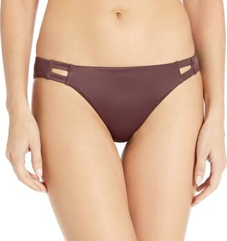 RVCA Junior's Solid TAB Front Bikini Bottom