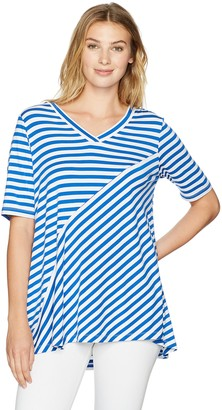 Sag Harbor Women's V-Neck Mixed Stripe Tee