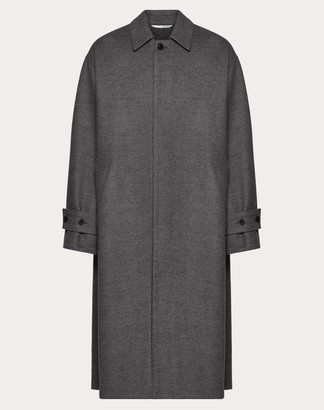 Valentino Coat In Double-layer Wool Man Grey 48