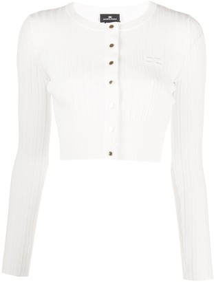 Elisabetta Franchi Ribbed-Knit Cropped Cardigan