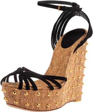 Details about  /Black Suede Wavy Platform Wedge Heel w// Ankle Strap #Shanon-01