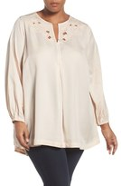 Melissa McCarthy Embroidered Cutout Neck Blouse (Plus Size)
