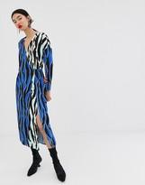Asos animal print wrap dress