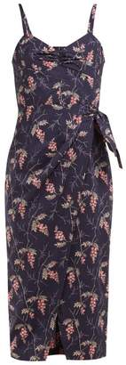 Rebecca Taylor Ivie Floral Print Cotton Midi Dress - Womens - Navy Multi