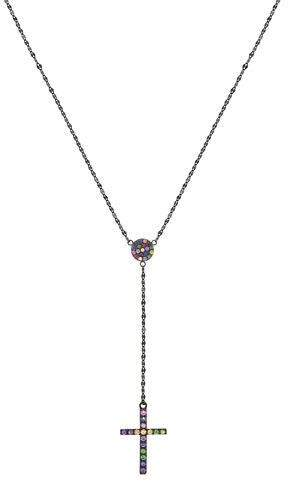 Lana Electric Crossary Pendant Necklace with Rainbow Sapphires in 14K Black Gold