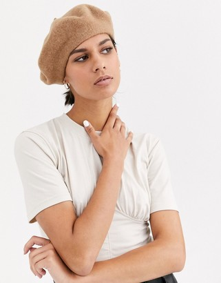 Asos Design DESIGN wool beret in brown