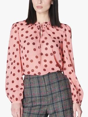 LK Bennett Tate Polka Dot Tie Neck Blouse, Light Pink/Bordeaux