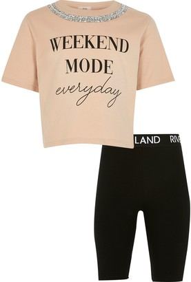 River Island Girls Nude 'Weekend Mode' t-shirt outfit