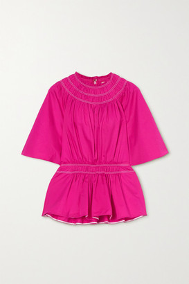 Roksanda Lima Ruched Cotton-satin Peplum Blouse