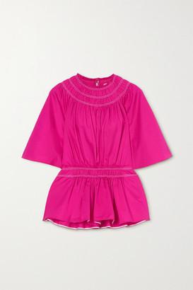 Roksanda Lima Ruched Cotton-satin Peplum Blouse - Bright pink