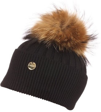 Popski London Angora Pom Pom Hat - Black With Natural