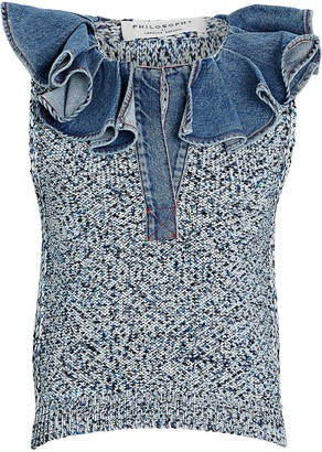 Philosophy di Lorenzo Serafini Denim Collar Knit Top
