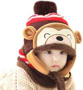 Happy Cherry Baby Monkey Winter Warm Crochet Knit Hat Earflaps Cap+Scarf