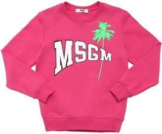 MSGM Rubber Logo Printed Cotton Sweatshirt