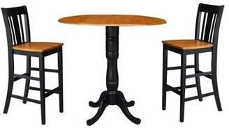 August Grove Naugatuck Round Top Pedestal Extending 3 Piece Pub Table Set August Grove