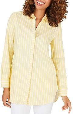 Foxcroft Vera Striped Button-Up Shirt